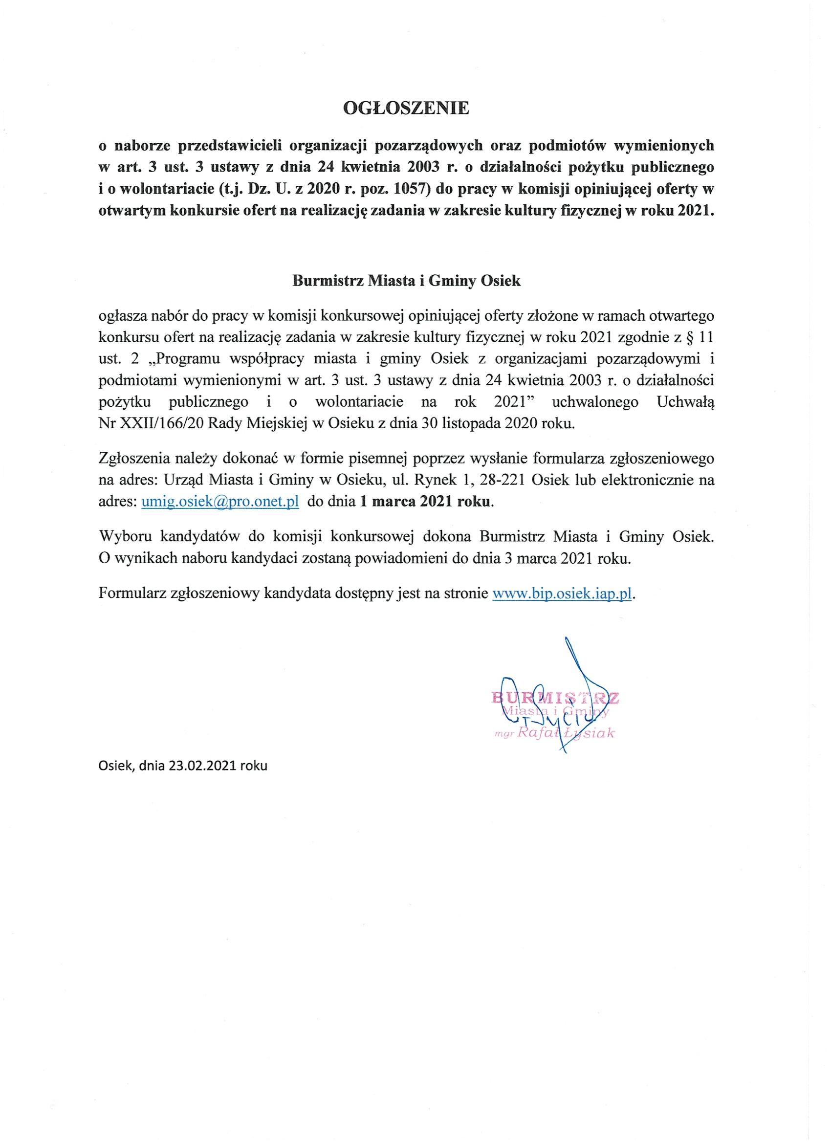 Ogłoszenie konkurs komisja